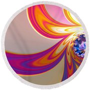 Daisy In Color Mode Round Beach Towel