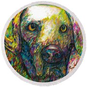 Daisy The Dog Round Beach Towel
