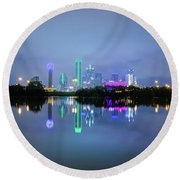Dallas Cityscape Reflection Round Beach Towel