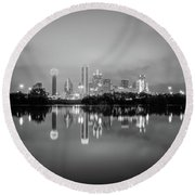 Dallas Cityscape Reflections Black And White Round Beach Towel