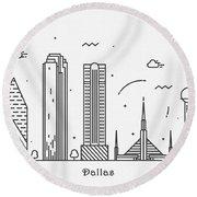 Dallas Cityscape Travel Poster Round Beach Towel