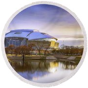 Round Beach Towel featuring the photograph Dallas Cowboys Stadium Arlington Texas by Robert Bellomy