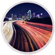 Dallas Skyline Highway Lights Round Beach Towel