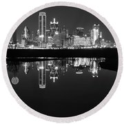 Dallas Texas Cityscape Reflection Round Beach Towel
