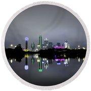 Dallas Texas Cityscape River Reflection Round Beach Towel