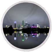 Dallas Texas Cityscape River Reflection Round Beach Towel