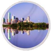 Dallas Texas Houston Street Bridge Round Beach Towel