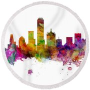 Dallas Texas Skyline Panoramic Round Beach Towel