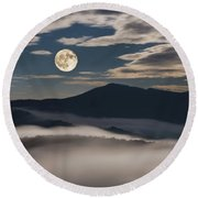 Dance Of Clouds And Moon Round Beach Towel