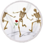 Dancing Skeleton Trio Round Beach Towel