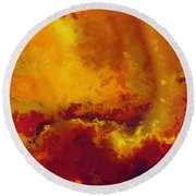 Round Beach Towel featuring the painting Daniel 6 27. He Delivers And Rescues by Mark Lawrence