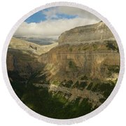 Round Beach Towel featuring the photograph Dappled Light In The Ordesa Valley by Stephen Taylor