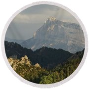 Round Beach Towel featuring the photograph Dappled Light On Pena Montanesa by Stephen Taylor