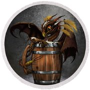 Dark Beer Dragon Round Beach Towel
