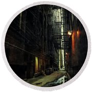 Dark Chicago Alley Round Beach Towel