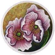 Round Beach Towel featuring the painting Dark Confession by Amy E Fraser
