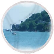 Dartmouth Castle Painting Round Beach Towel