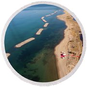 Round Beach Towel featuring the photograph Dashed Line by Okan YILMAZ