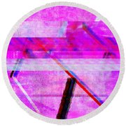 Round Beach Towel featuring the digital art Databending #1 by Bee-Bee Deigner