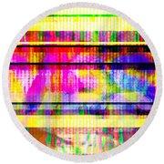 Round Beach Towel featuring the digital art Databending #2 Hidden Messages by Bee-Bee Deigner