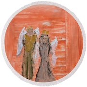 Dating Angels Round Beach Towel
