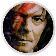David Bowie - Past And Present  Round Beach Towel