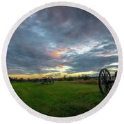 Round Beach Towel featuring the photograph Dawn At Gettysburg by Ronald Santini