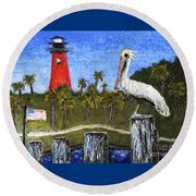 Aceo Dawn At Jupiter Inlet Lighthouse Florida 52a Round Beach Towel