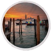 Round Beach Towel featuring the photograph Dawn Deliveries...venice.    by Tim Bryan