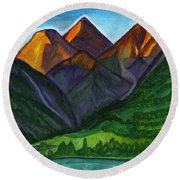 Evening Illumination Of Snowy Mountain Peaks With Waterfalls And A Mountain River Round Beach Towel