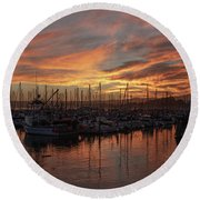 Dawn Monterey Bay California Round Beach Towel