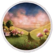 Day Begins In The Valley Round Beach Towel