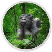 Daydreaming Gargoyle Round Beach Towel