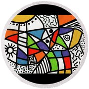 Homage To The Muses 2 Round Beach Towel