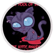 Dead Cold Angry Zombie Kitty Round Beach Towel