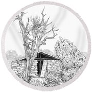 Decay Of Calamity The Half Life Of A Dream Black And White  Round Beach Towel