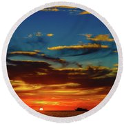 December 17 Sunset Round Beach Towel