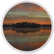 December Sunrise Over Spring Lake Round Beach Towel