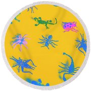 Decorative Creatures Round Beach Towel