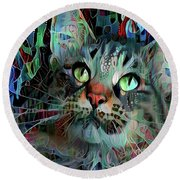 Deedee In Blue And Red Round Beach Towel