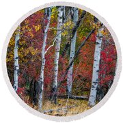 Deep Aspens Round Beach Towel