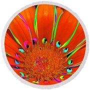 Round Beach Towel featuring the digital art Deep Coral Bloom  by Cindy Greenstein