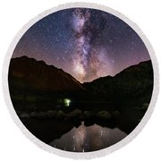 Round Beach Towel featuring the photograph Deep Sky Fishing by Tassanee Angiolillo