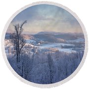 Deer Valley Winter View Round Beach Towel