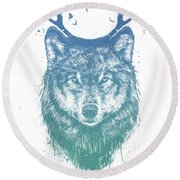 Deer Wolf Round Beach Towel