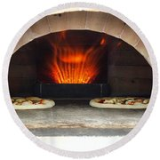 Delicious Pizza In The Oven Round Beach Towel