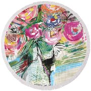 Delightful Bouquet 3- Art By Linda Woods Round Beach Towel