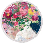 Delightful Bouquet- Art By Linda Woods Round Beach Towel