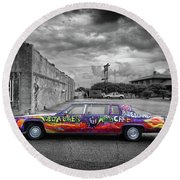 Round Beach Towel featuring the photograph Delta Blues Limo by Jim Mathis