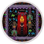 Demonic Madonna With Rose Skulls And Baby Bears With Hats Round Beach Towel